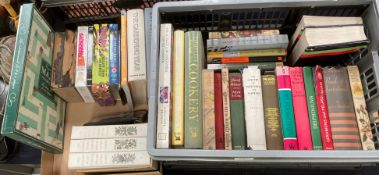 Contents to tray and a cardboard lid a quantity of books on gardening and cookery,