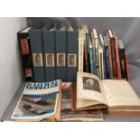 Contents to two boxes - five folders containing the world of trains magazines and other books and