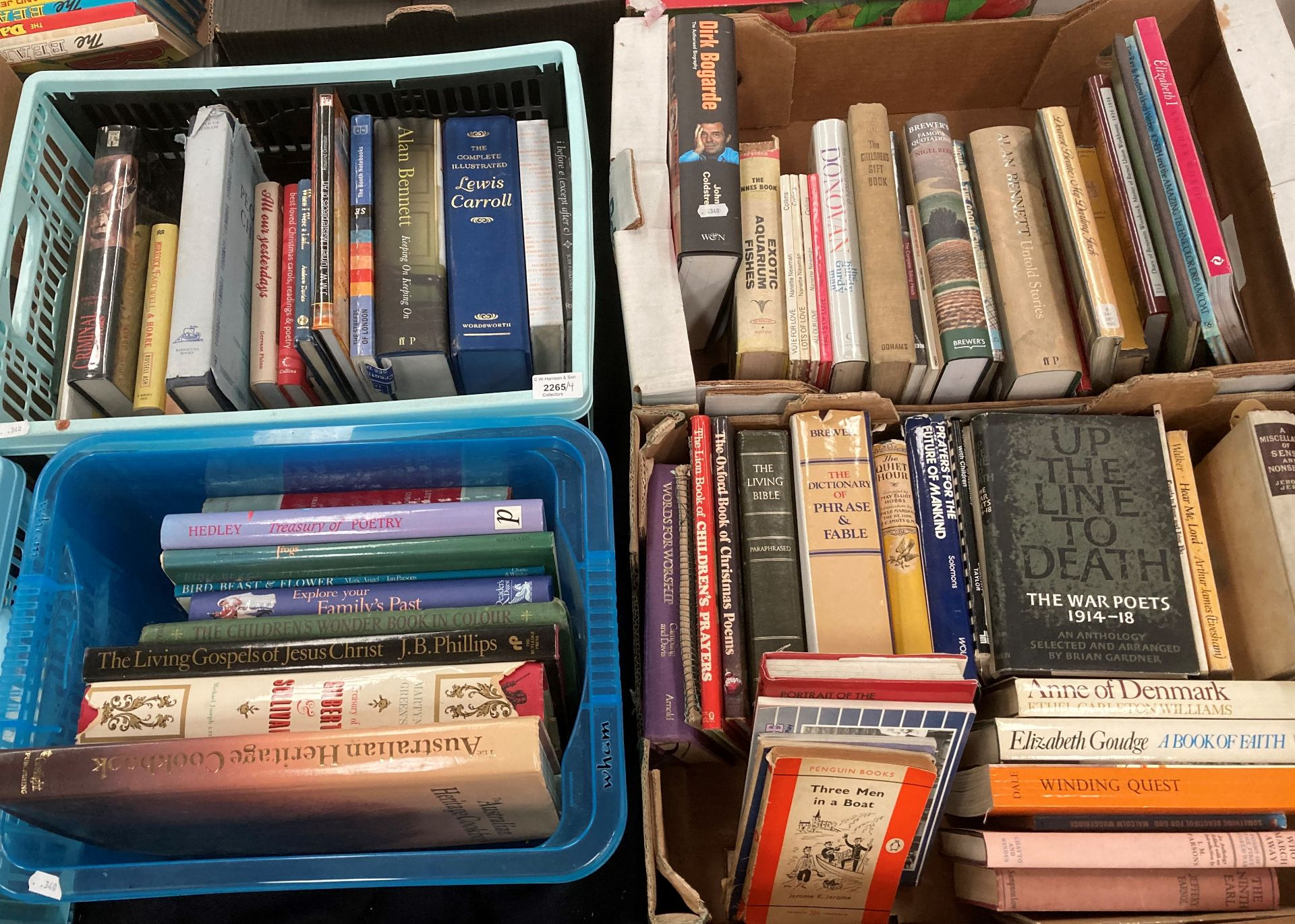 Contents to four boxes books on English Literature, poetry, biographies, religion etc.