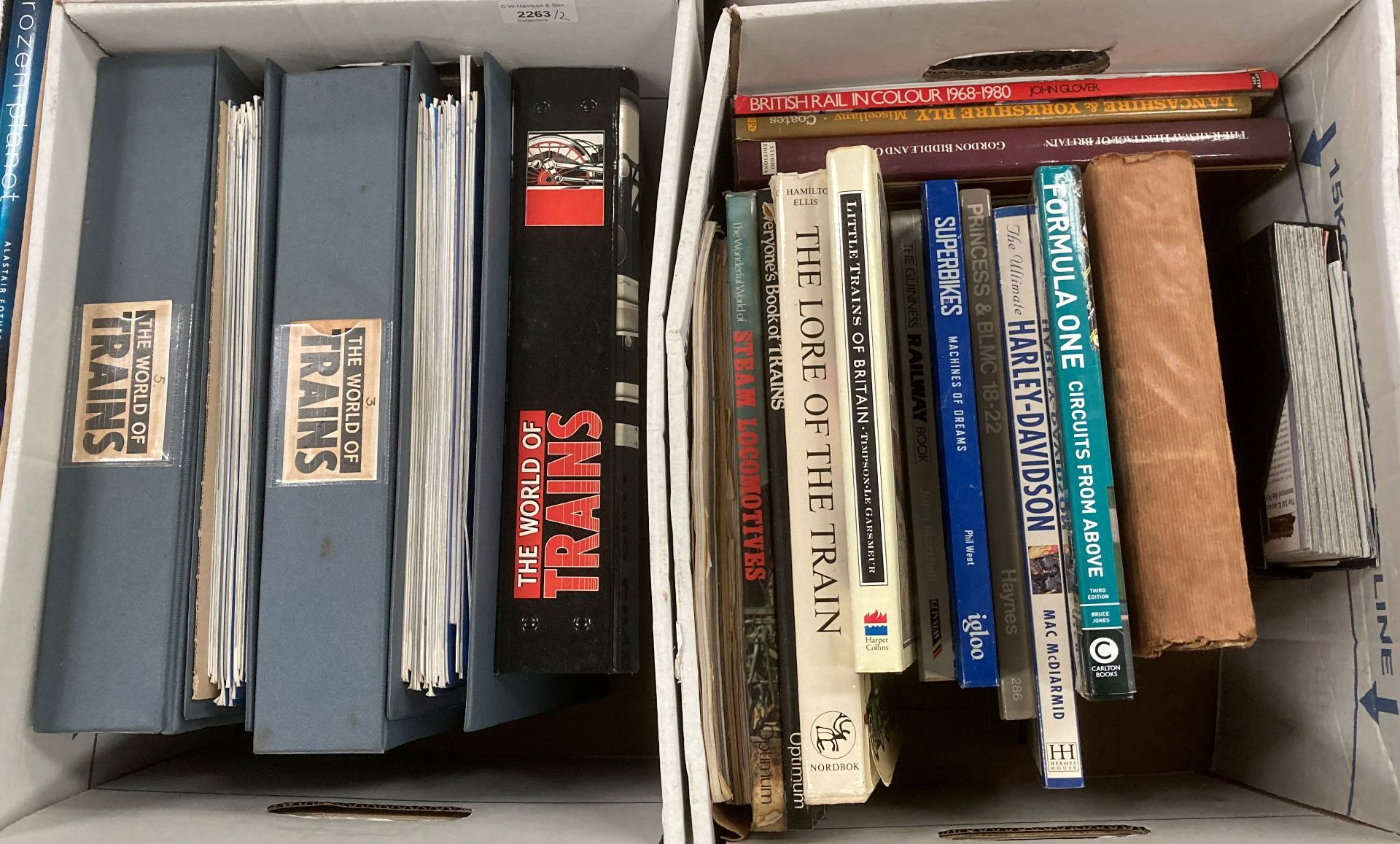 Contents to two boxes - five folders containing the world of trains magazines and other books and - Image 4 of 4