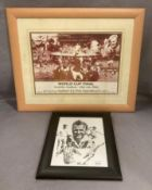 A framed photo print collage World Cup Final Wembley Stadium - 30th July 1966 30 x 40cm and a small