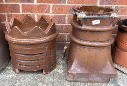 A salt glazed chimney base 40cm high and a similar crown chimney top 33cm high (2)
