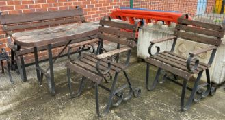 A custom made black metal framed garden table with wooden top 175cm x 54cm together with a matching