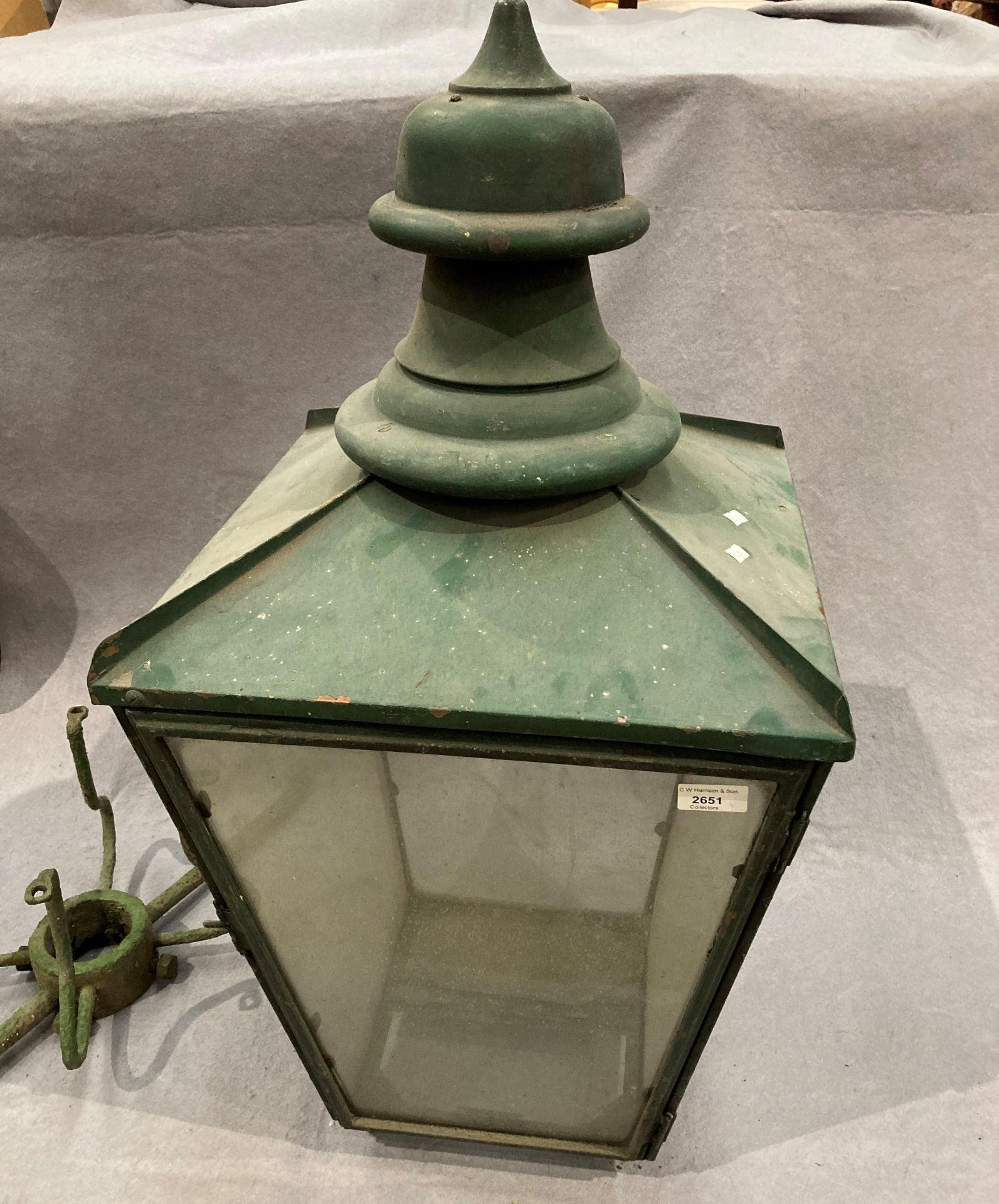 A green painted copper outdoor lamp shade stamped Donville B'ham (glass still intact) and original - Image 2 of 4