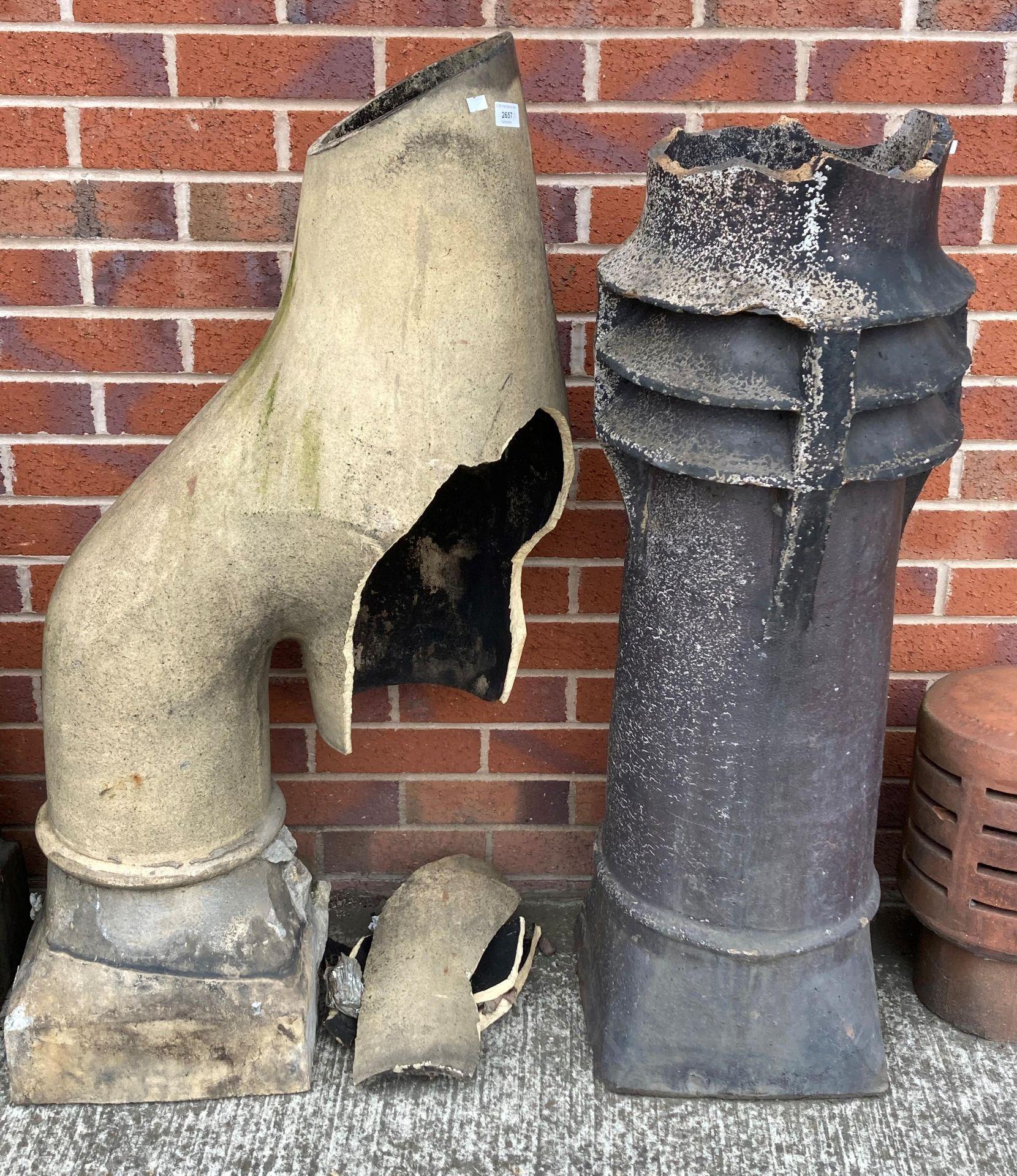 A salt glazed chimney pot - top damaged 100cm high and a salt glazed curved chimney pot 112cm high
