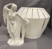 A modern white glazed pottery female nude 42cm high and a large cream lampshade (2)