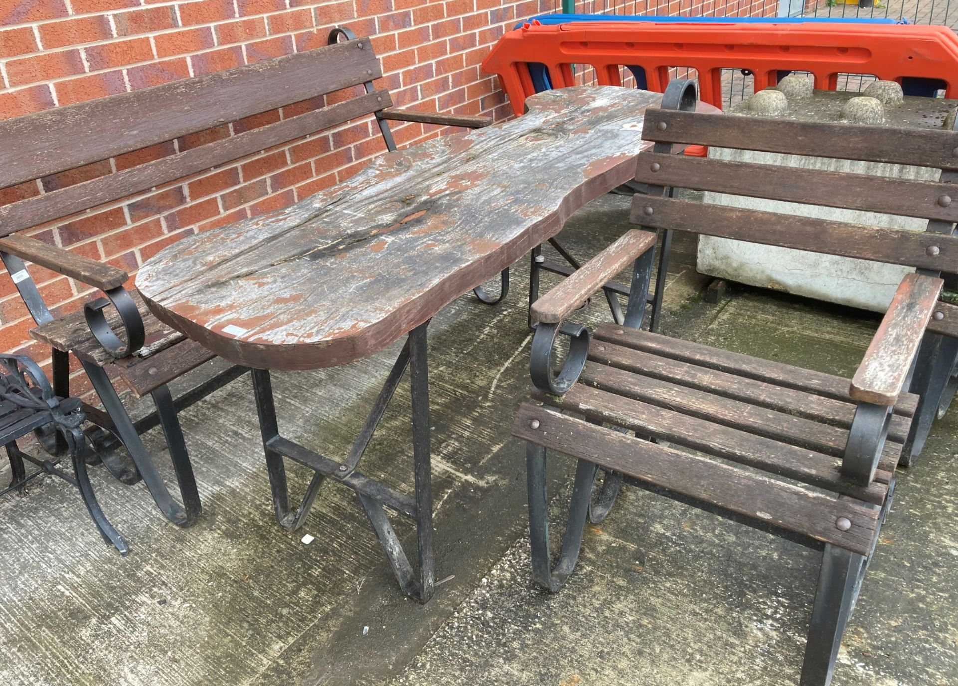 A custom made black metal framed garden table with wooden top 175cm x 54cm together with a matching - Image 2 of 2