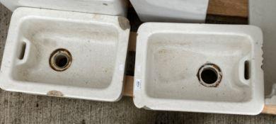 Two small white glazed Belfast sinks each 42cm x 32cm x 12cm deep - both chipped