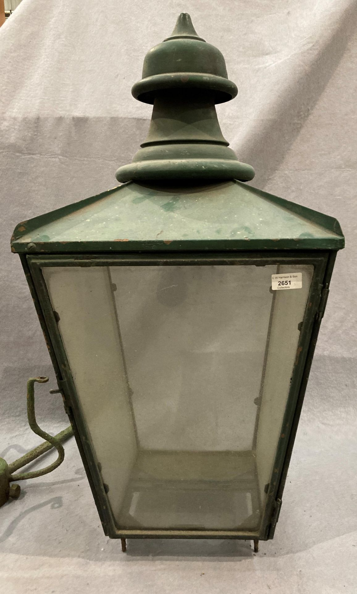 A green painted copper outdoor lamp shade stamped Donville B'ham (glass still intact) and original - Image 3 of 4