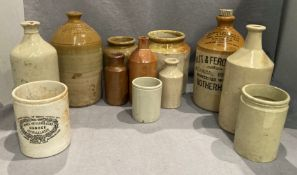 Contents to tray eleven various glazed flagons and food jars - Watt and Ferguson Botanical Brewers