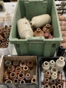 Green plastic crate and contents and two small boxes and contents - glazed bed warmers, bottles,