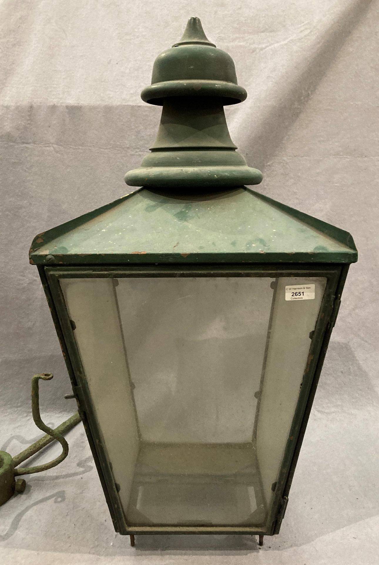 A green painted copper outdoor lamp shade stamped Donville B'ham (glass still intact) and original