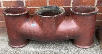 A salt glazed three pot chimney pot - 80cm long x 34cm high