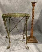 An old circular wire work table as viewed and an oak barley twist pedestal (2)