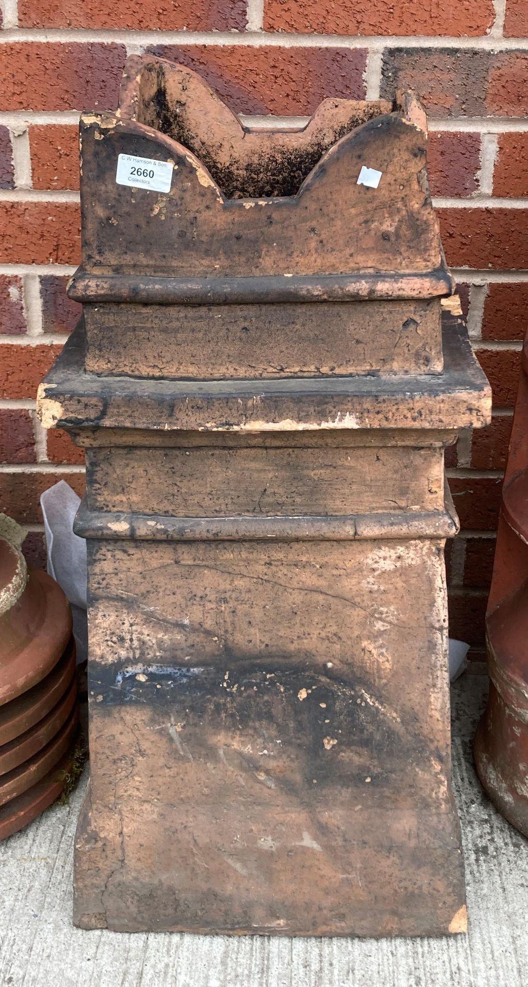 A salt glazed chimney pot - points damaged 72cm