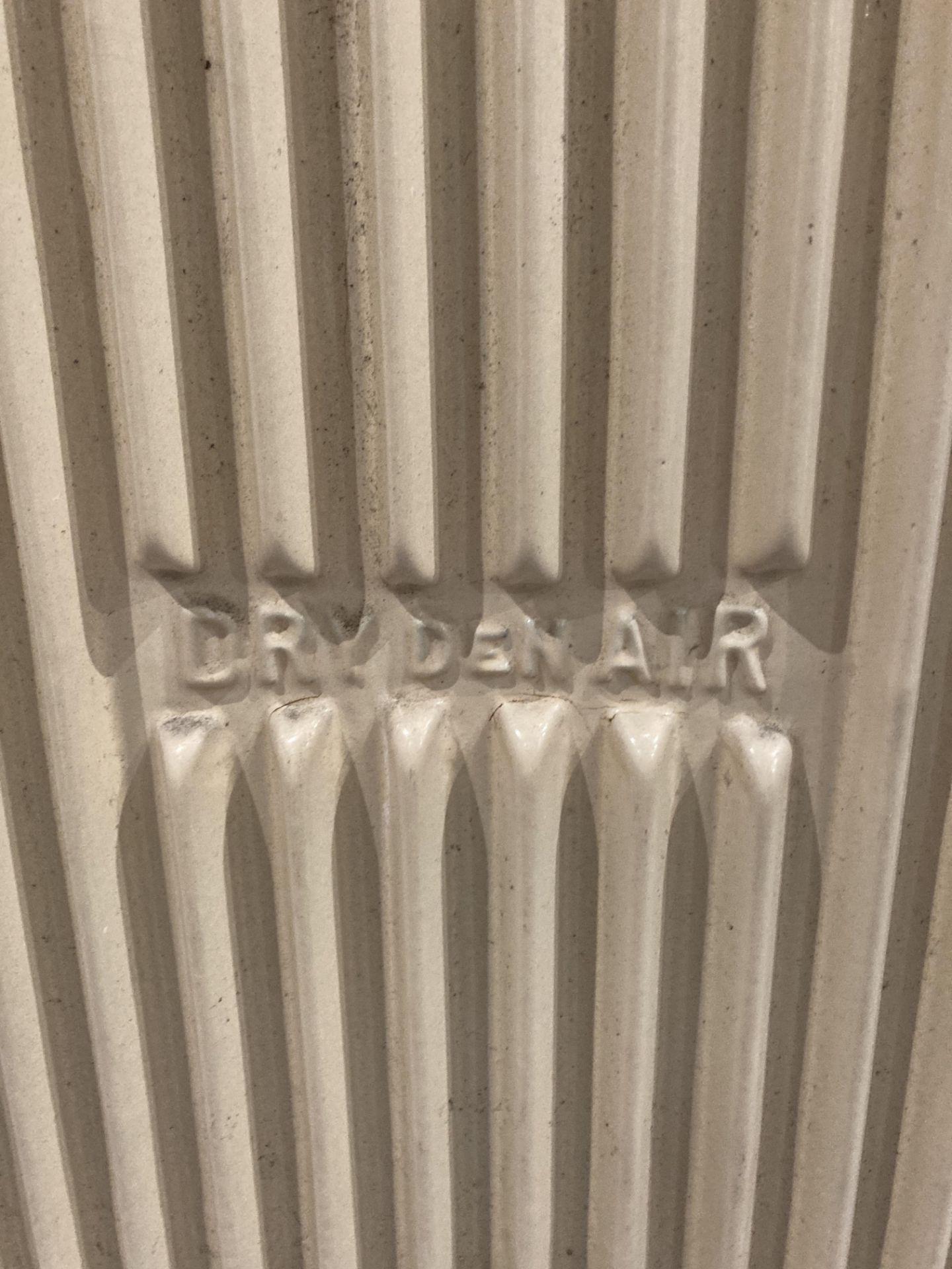 A Dry Denair cast iron mobile radiator 60 x 48cm wide - one cast castor broke off and electric - Image 2 of 5