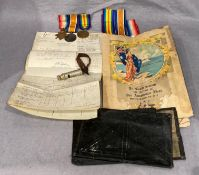 Contents to tray - three First World War medals awarded to Sto. 1 R.N. F.