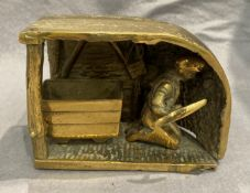 A brass mining model - 'At the coal face' 19cm x 12cm