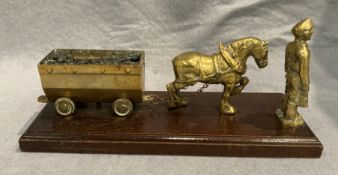 A brass mining model featuring a pit pony pulling a coal wagon and a miner 31cm long