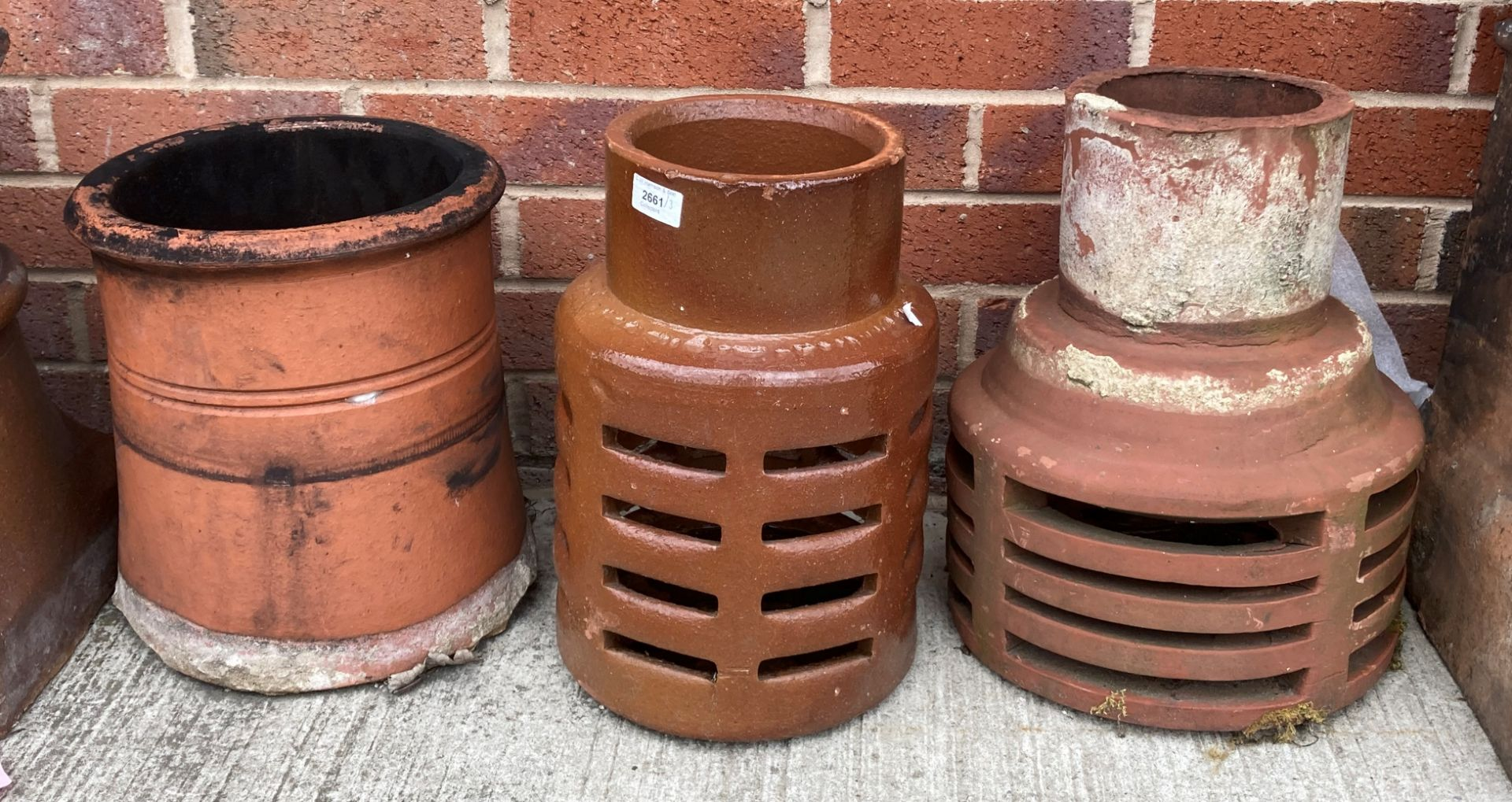 Three low salt glazed/terracotta chimney top pots - different styles size range 30-40cm high