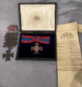 The Royal Red Cross Medal Second Class with ribbon and a copy of the court circular from the Times