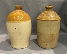 Two glazed flagons - Hugh White & Co, Belfast and Maxwell Grayson & Co, Harrogate,