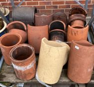 Contents to pallet twelve assorted salt glazed and terracotta chimney cowls and sections - approx