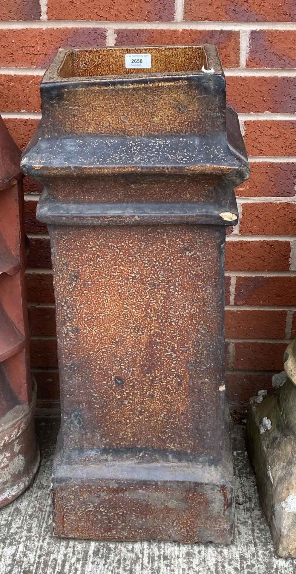 A salt glazed square chimney pot 76cm