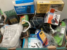 Contents to box - assorted electrical items including electronic tap timer, digital multimeters,