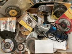 """Contents to box - Einhell BT-AG500 4"""" angle grinder and a quantity of assorted grinding discs (some"""