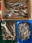 Contents to three tubs - a quantity of assorted spanners by Victor, Expert, etc.