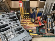 Contents to crate - assorted chisels, punch sets, wood chisels, file sets, hand drill, etc.