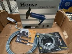 Contents to box - three assorted items of drain cleaning equipment