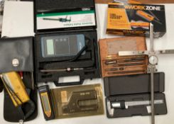 Contents to crate - electronic digital calipers, fine contour gauge, Air Flow TA35,