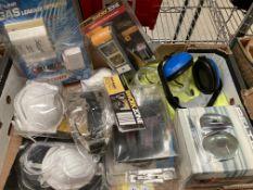 Contents to box - assorted safety equipment - ear defenders, eye protectors, hi-viz,