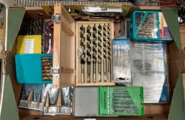 Contents to box - 11 assorted sets of wood, metal, masonry and step drill sets by Tooltec,