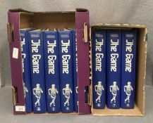 Eight blue plastic folders containing the Marshall Cavendish Encyclopedia of World Sports magazines