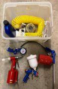 Contents to box Clarke spray gun, Clarke wash gun, Clarke tyre inflator,