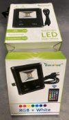 5 x Lemon Best low IP66 LED flood light RGB and white complete with remote control and Euro plug