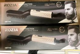 5 x Rozia multi-functional mens hair straightening brushes model HR7110 with euro 2 pin plug