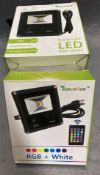6 x Lemon Best low IP66 LED flood light RGB and white complete with remote control and Euro plug