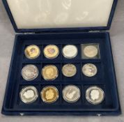 Blue presentation box of world crown sized coins (12)