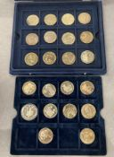 Blue presentation box of world crown sized coins (22)