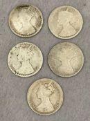 Five Queen Victoria Gothic Florins