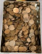 Tin of mainly 19th & 20th century pennies & half pennies