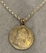 George III 1787 sixpence on sterling silver chain