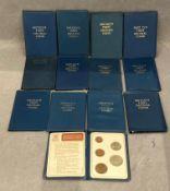Thirteen British first decimal coins packs