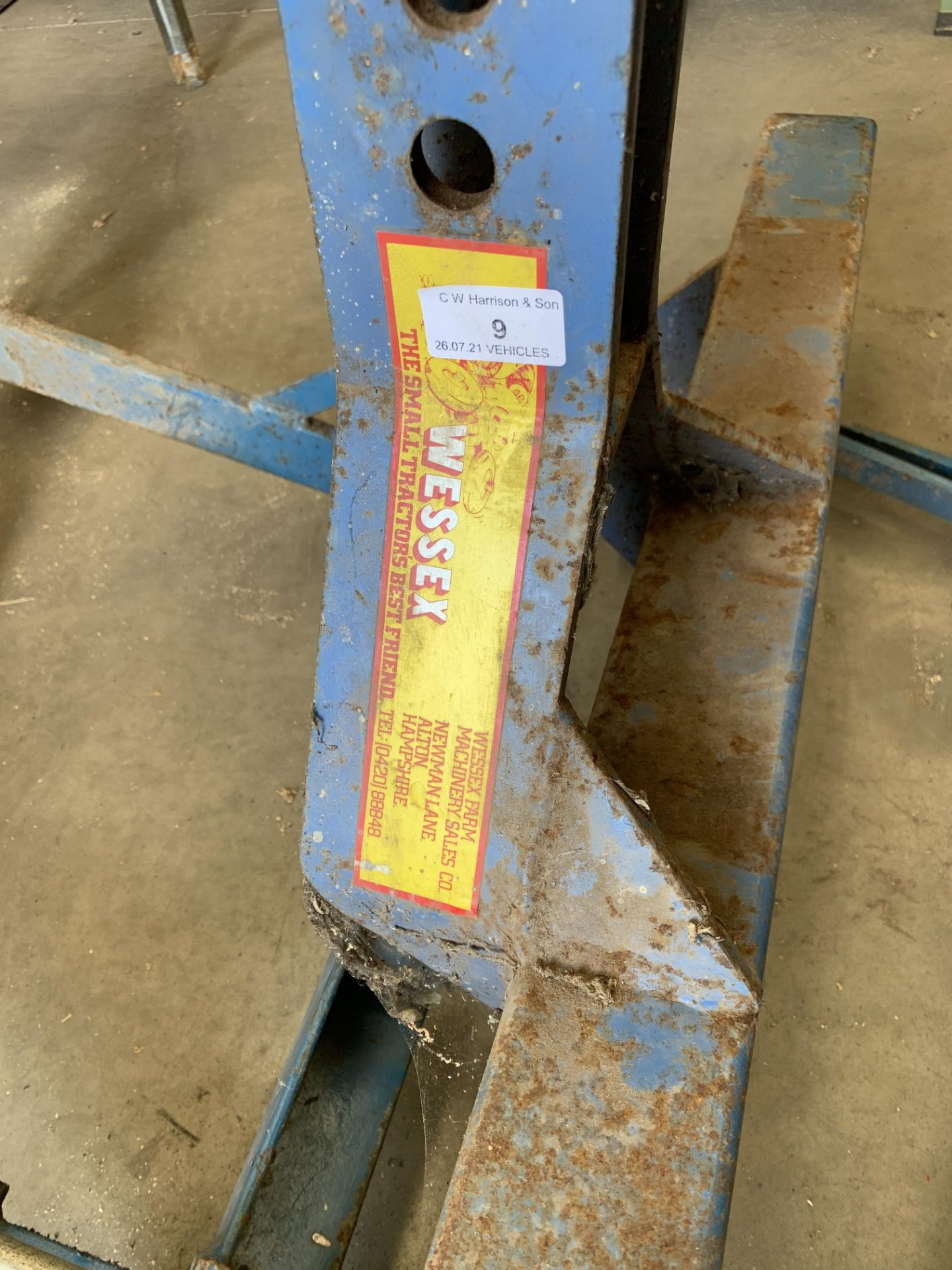 A blue metal frame TWO PLOUGH ATTACHMENT *Please note, - Image 4 of 5