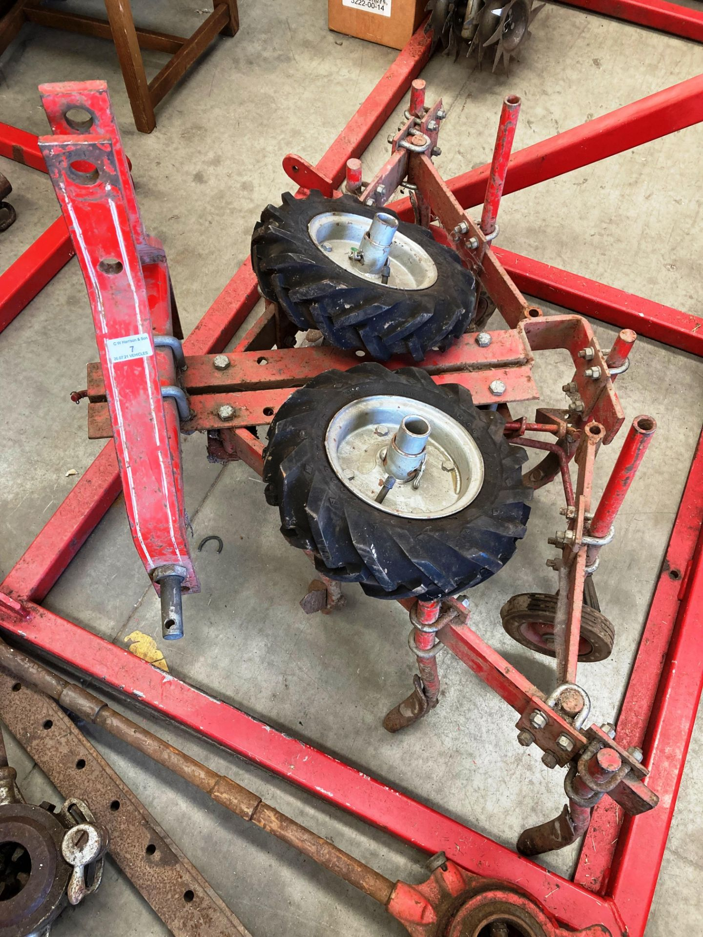 A SEVEN TINE CULTIVATOR serial number 586542 - possibly manufactured by Neodesha,