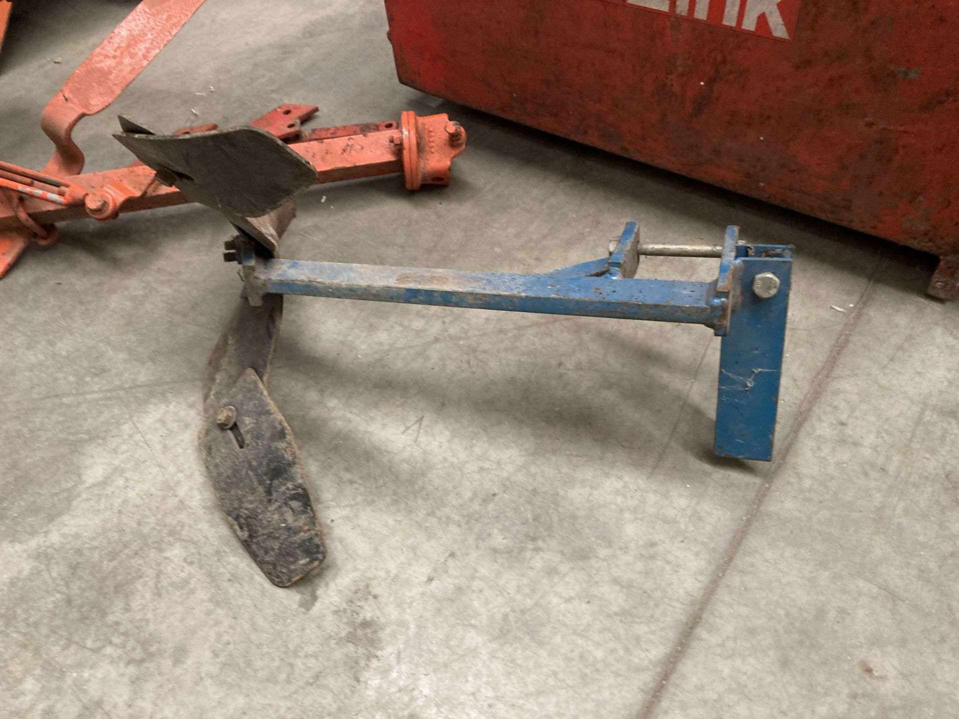 A blue metal frame TWO PLOUGH ATTACHMENT *Please note, - Image 5 of 5